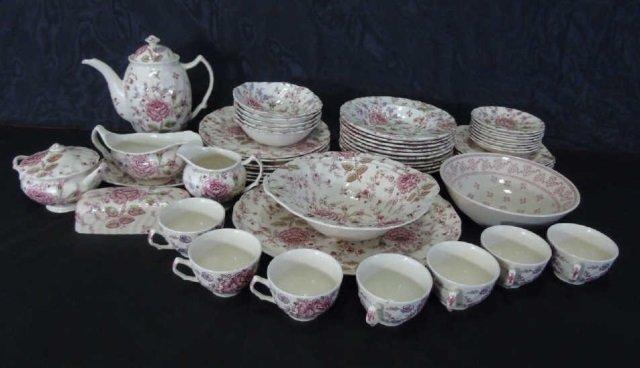 Large Service Johnson Bros. Rose Chintz Porcelain