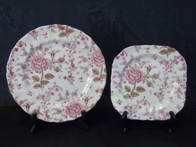 Large Service Johnson Bros. Rose Chintz Porcelain - 2