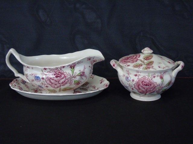 Large Service Johnson Bros. Rose Chintz Porcelain - 5