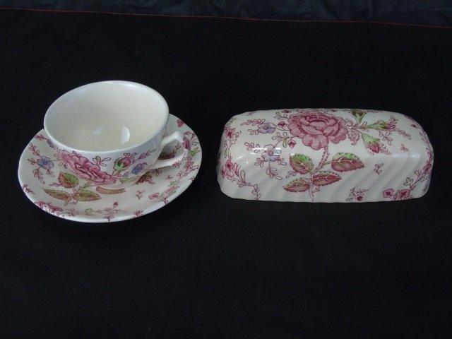 Large Service Johnson Bros. Rose Chintz Porcelain - 6