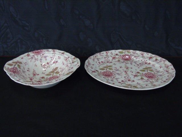 Large Service Johnson Bros. Rose Chintz Porcelain - 7