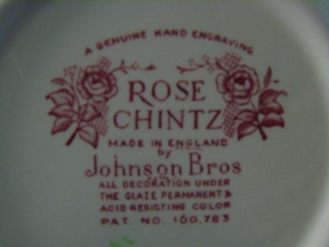 Large Service Johnson Bros. Rose Chintz Porcelain - 9