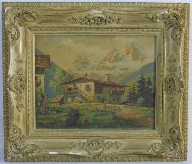 Leon - Signed & Framed Swiss Alpine Oil Painting