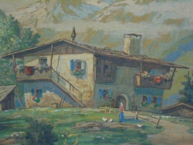 Leon - Signed & Framed Swiss Alpine Oil Painting - 2