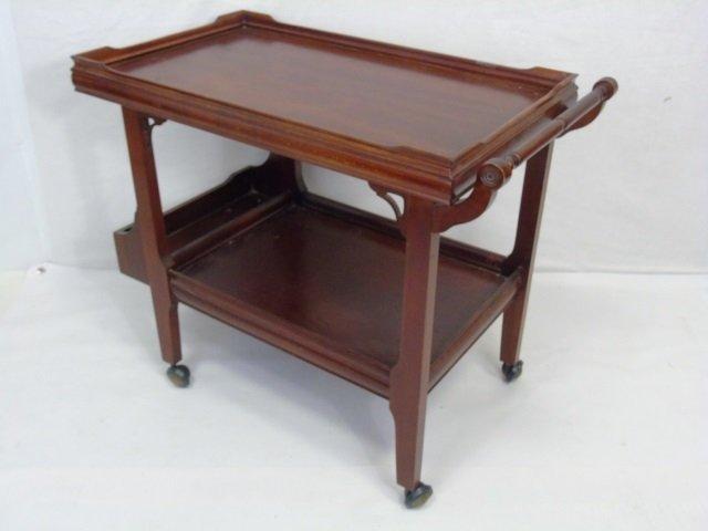 Antique Mahogany Tone Tea Cart Serving Trolley