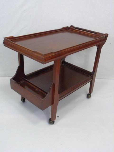 Antique Mahogany Tone Tea Cart Serving Trolley - 4