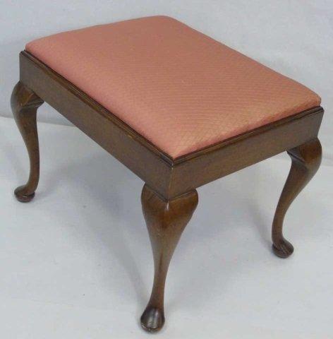 Vintage Upholstered Cabriole Leg Foot Stool