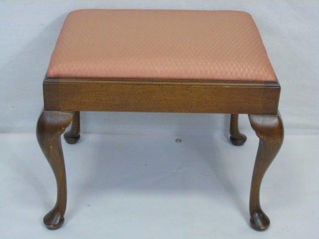 Vintage Upholstered Cabriole Leg Foot Stool - 2