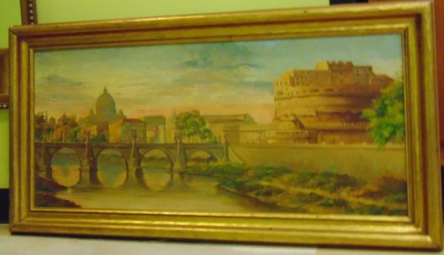 Framed Painting - Scene of Roman Bridge