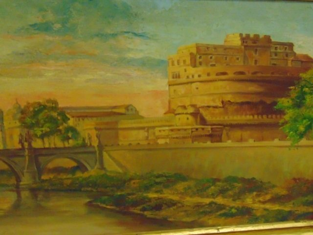 Framed Painting - Scene of Roman Bridge - 2