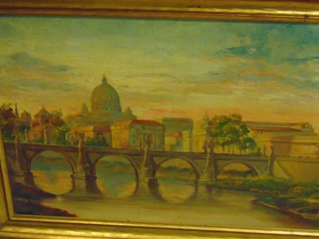 Framed Painting - Scene of Roman Bridge - 3