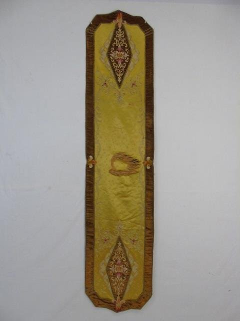 Antique Hand Painted Tapestry & Velvet Runner - 10