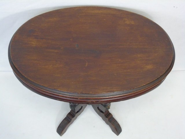 Antique 19th C American Victorian Oval End Table - 3