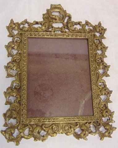Antique Scrollwork Motif Gilt Metal Table Mirror