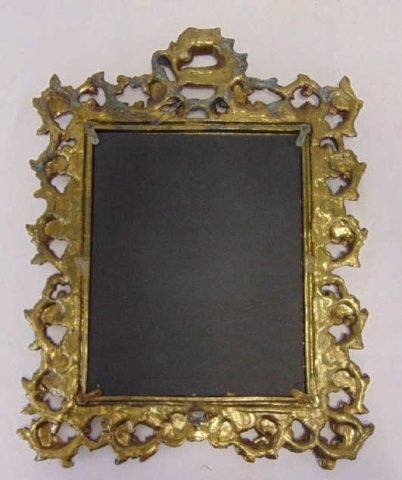 Antique Scrollwork Motif Gilt Metal Table Mirror - 2