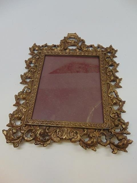 Antique Scrollwork Motif Gilt Metal Table Mirror - 3