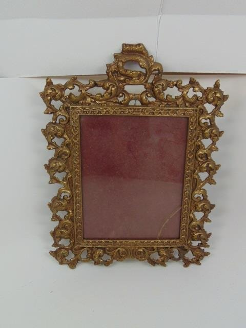 Antique Scrollwork Motif Gilt Metal Table Mirror - 4