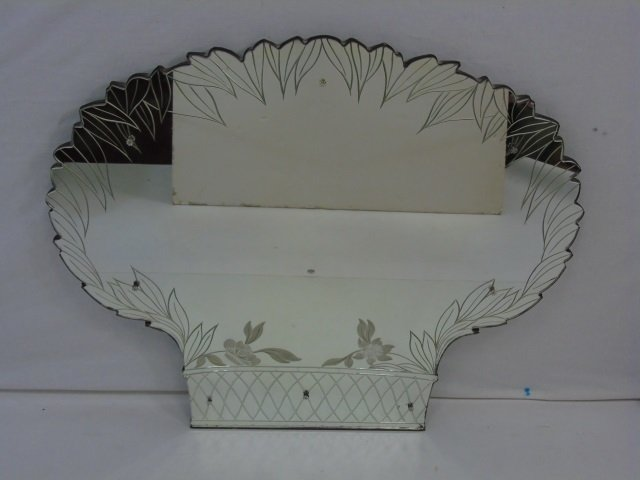 Vintage Mid Century Etched Glass Wall Mirror