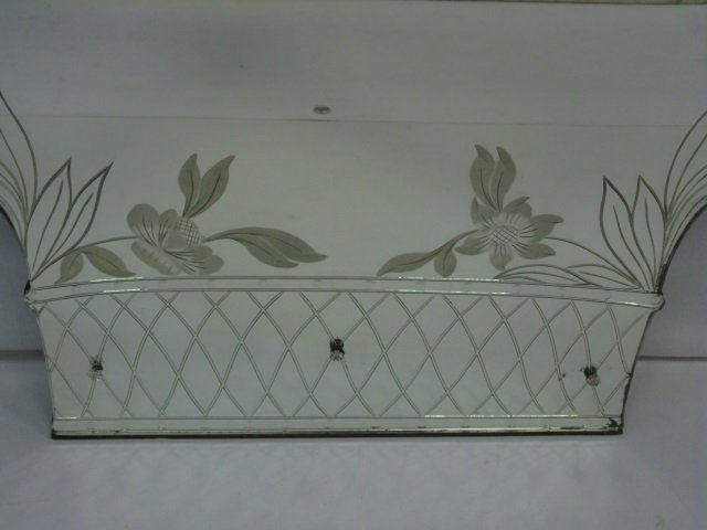 Vintage Mid Century Etched Glass Wall Mirror - 3