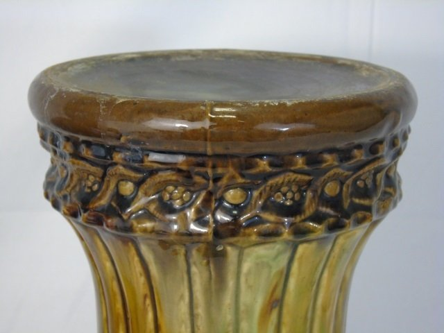 Antique Majolica Glazed Pottery Plant Pedestal - 3