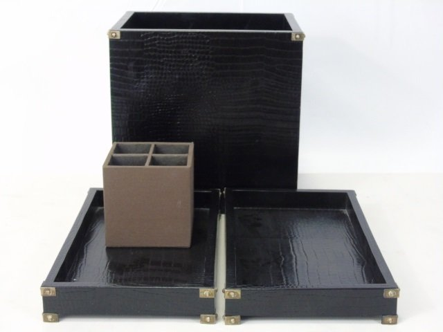 Contemporary Faux Alligator Leather Desk Set