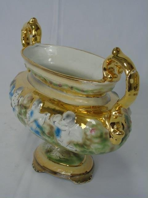 Italian Vintage Painted & Gilt Pair Urns & Compote - 3