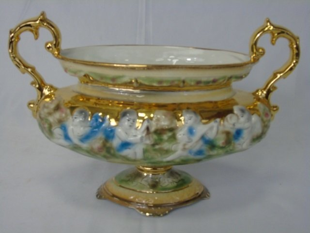 Italian Vintage Painted & Gilt Pair Urns & Compote - 8