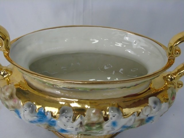 Italian Vintage Painted & Gilt Pair Urns & Compote - 9