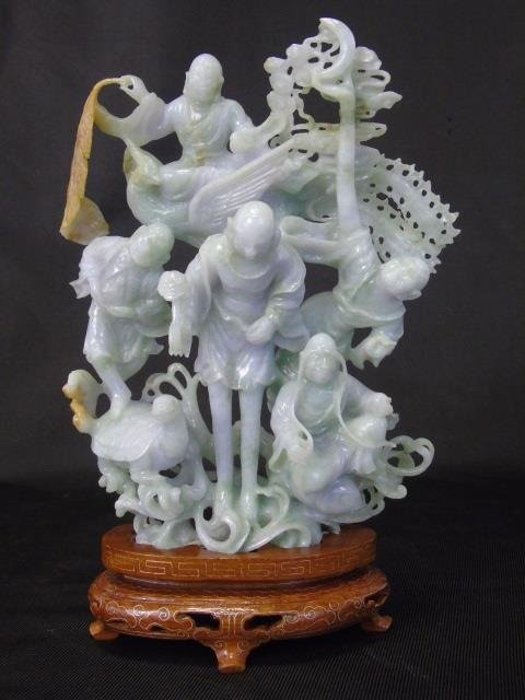 Hand Carved Chinese Figural Fine Jade Sculpture