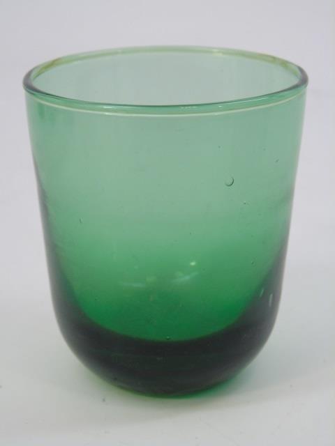 Five Antique Blown Green Glass Tumblers - 3