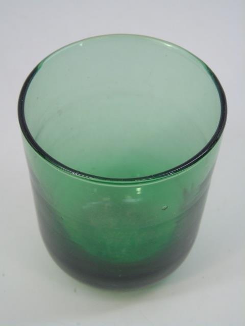 Five Antique Blown Green Glass Tumblers - 4