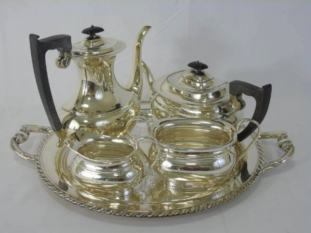 English Sterling Silver Four Piece Tea Coffee Set