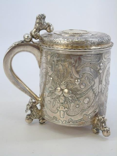 Antique Danish Frederick IV Figural Silver Tankard