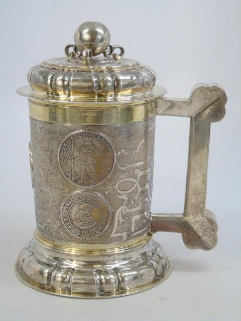 Large Antique German Silver Coin Mounted Tankard