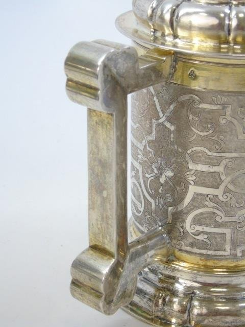 Large Antique German Silver Coin Mounted Tankard - 2