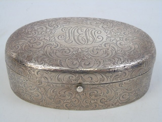 Antique Sterling Silver Oval Dresser Jewelry Box