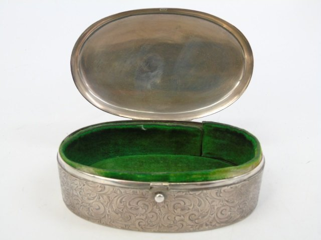 Antique Sterling Silver Oval Dresser Jewelry Box - 2