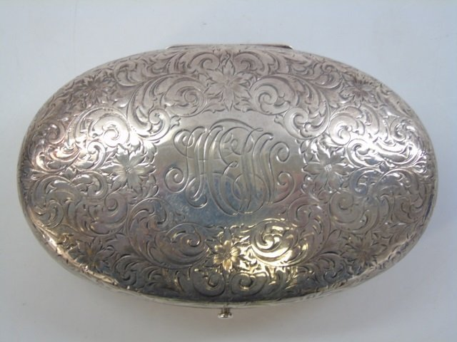 Antique Sterling Silver Oval Dresser Jewelry Box - 3