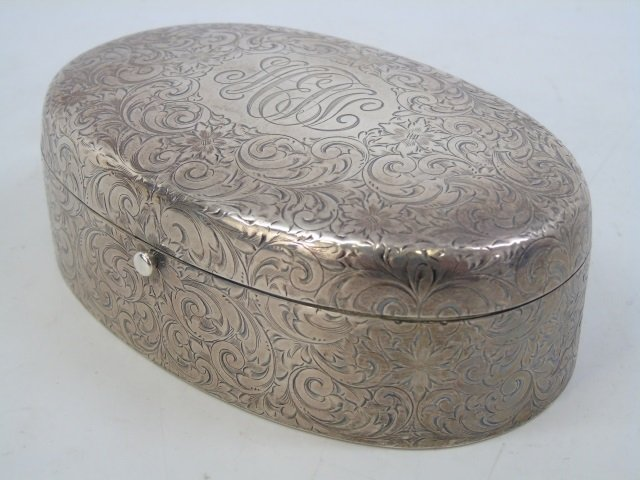 Antique Sterling Silver Oval Dresser Jewelry Box - 4