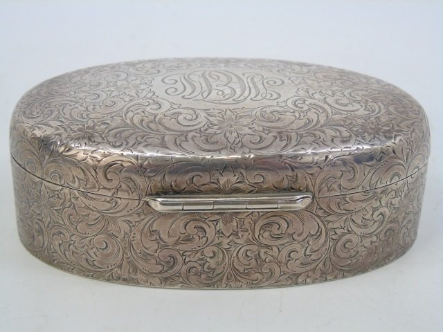 Antique Sterling Silver Oval Dresser Jewelry Box - 5