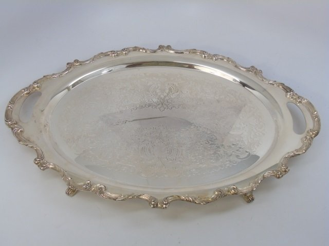 Antique Four Piece Silver Plate Tea Service w Tray - 8