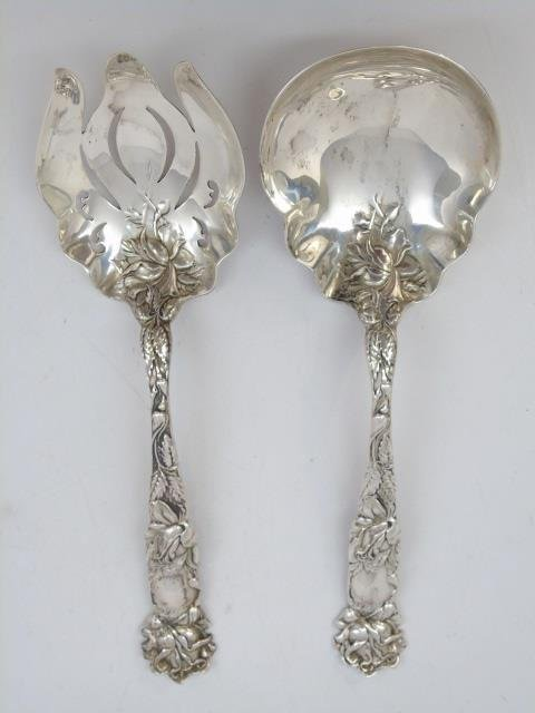 Pair Antique Sterling Silver Serving Spoon & Fork