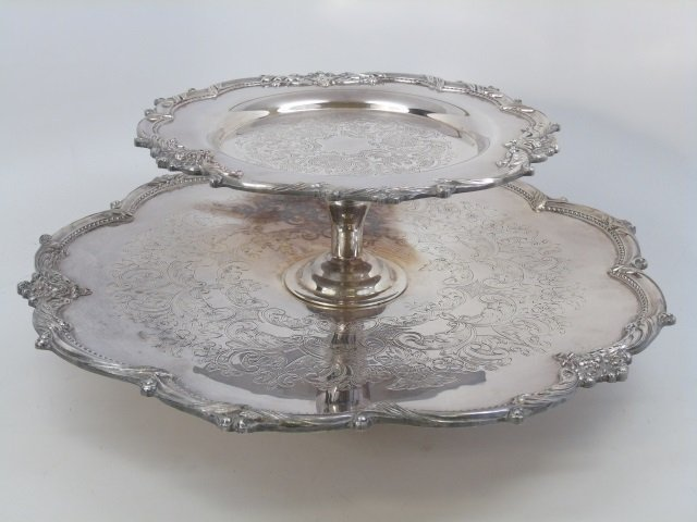 Large Silver Plate on Copper Lazy Susan Server