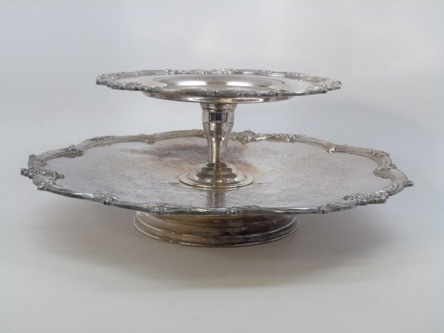 Large Silver Plate on Copper Lazy Susan Server - 2
