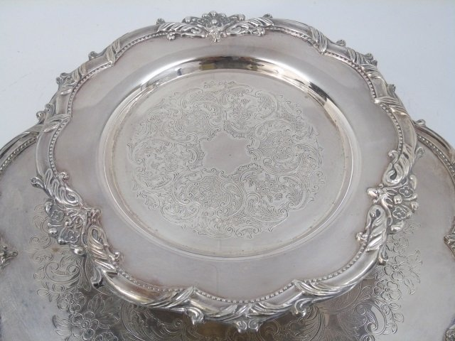 Large Silver Plate on Copper Lazy Susan Server - 3