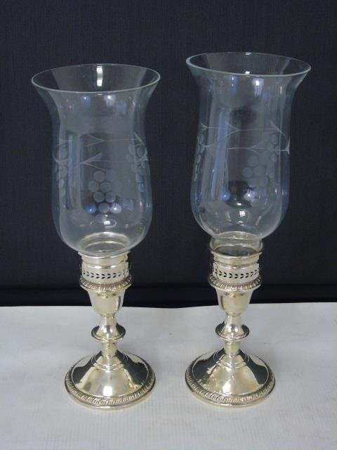 Pair Sterling Silver Candlesticks w Hurricanes