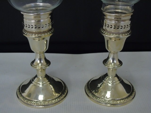 Pair Sterling Silver Candlesticks w Hurricanes - 4