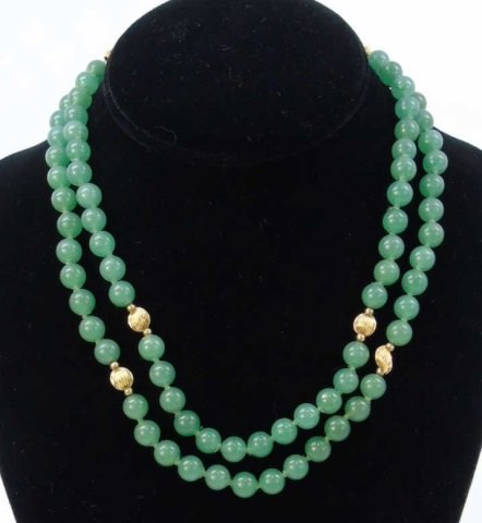 Estate 14kt Yellow Gold & Chinese Jade Necklace