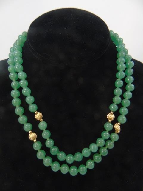 Estate 14kt Yellow Gold & Chinese Jade Necklace - 2