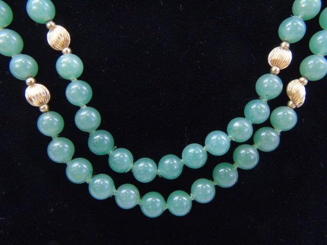Estate 14kt Yellow Gold & Chinese Jade Necklace - 3